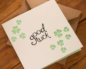 Good Luck Clovers Card - Suitable for exams, new job or any other occasion - blank inside. Free UK shipping!