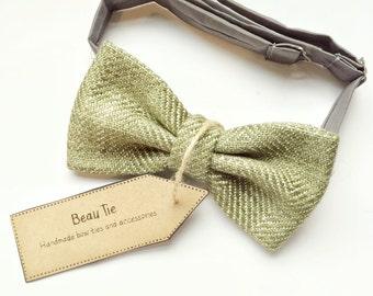tweed bow tie, olive green tweed, vintage tweed bow tie, mens bow tie, green bow tie, wedding bow tie