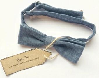 mens bow tie, skinny bow tie, denim bow tie, blue bow tie