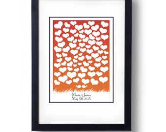 Personalised Heart Wedding Guest Book Alternative  Coloured Background - A3 Print