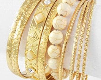 White Stone Bangle Bracelet Set, 9 pc bangle set, Stackable bangle set