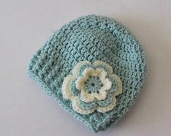 Crochet baby hat, baby girl hat, girl winter hat, infant hat, crochet beanie, baby beanie, hat with flower, baby girl, newborn hat