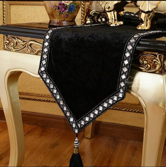 Table runner bed runner black velvet crystal with for 102 table runners
