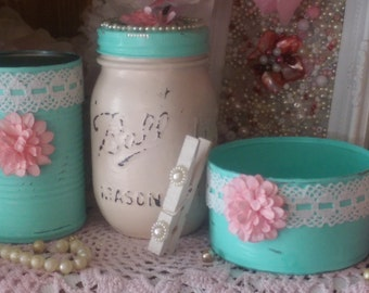 3 Piece Set Shabby Chic Desk or Vanity .. Ball Mason Jar Cans Clothespin Clip .. Teal and Ivory .. Embellished Lace Paper Flowers Pearls
