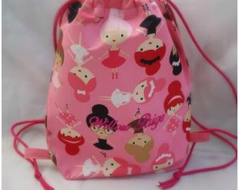 Custom Name Personalised Pink Ballerina Dancing Girls Drawstring School Bag or Book Bag