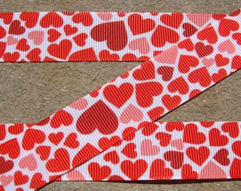 "3 yards Red Valentine Hearts Grosgrain Hair Bow Printed  Ribbon 7/8"" Valentine Day wrapping ribbon"
