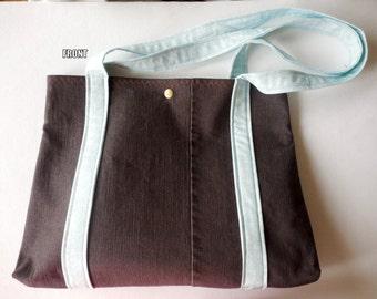 Upcycled Brown Denim Shoulder Bag, Brown Denim purse, Hobo bag, Recycled Denim Tote, jean purse, handmade pocketbook, teal and brown
