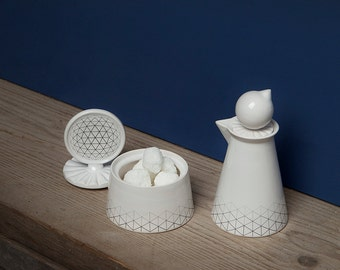 Geometry milk & sugar pot