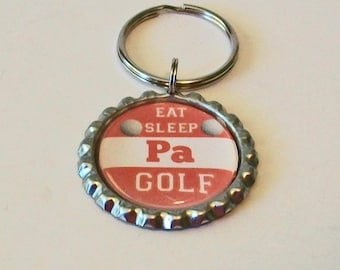 Orange and White Eat Sleep Golf Pa Father's Day Metal Flattened Bottlecap Keychain Great Gift