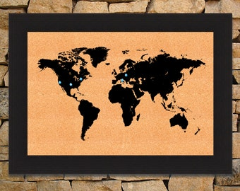 Printed World Map on Cork Board- Framed Map of the World Corkboard