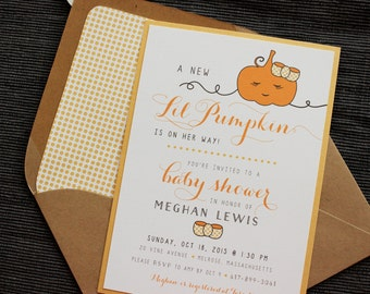 Baby Shower Invitation - Lil Pumpkin - Baby Girl Party - Birthday/Shower