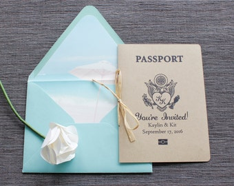 Rustic Passport Wedding Invitation - Kraft Cover - Palm Tree Motif - Available in all colors + foil