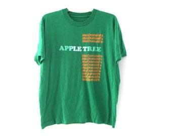 Vintage 80s tshirt McDonalds Apple Tree green