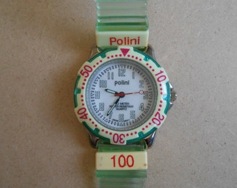 Vintage Green & Yellow Polini Rubber Watch Needs Battery