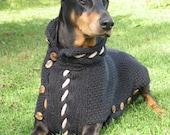 Dog Sweater BLACK JACK in black cotton for large Breeds
