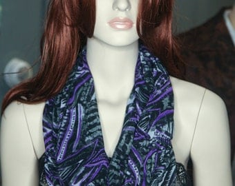 Purple Black and Gray Abstract Print Infinity Scarf