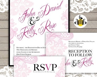 "Modern Wedding Invitations, Pink and Black Wedding Invites - ""Modern Lace"" Sample"
