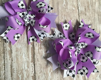 Soccer Bows, Lavender Soccer Ribbon, Soccer Bow, Pigtails, Fast Shipping