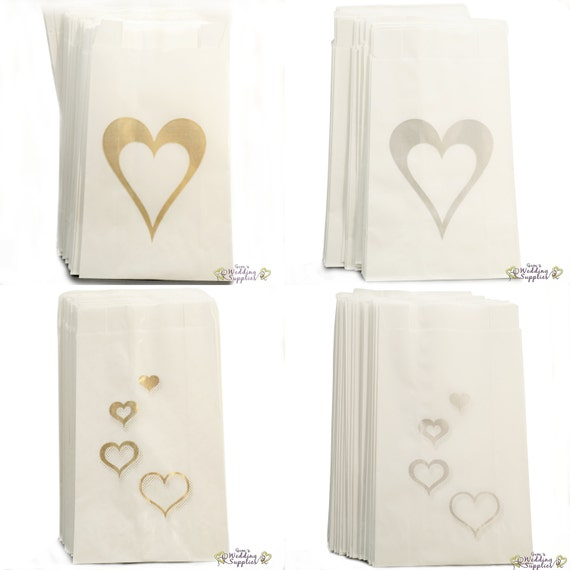 50 x wedding cake bags silver or gold hearts decoration supplies free