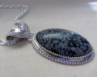 Silver Pendant Snowfake Obsidian stone