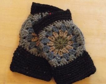 Hand Crochet - Fingerless Gloves - Granny Square Design