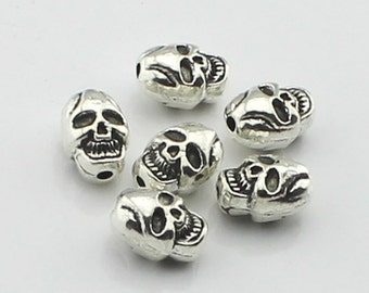 15pcs 7x8x10mm  Antique Silver Skull Charm Pendant   Day of the Dead