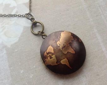 Map Locket Necklace, Globe Locket, World Traveler,Continents Round Locket, Photo Keepsake Gift