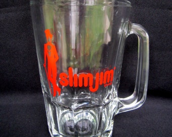 Glass Beer Pitcher Slim Jim Man Cave Barware