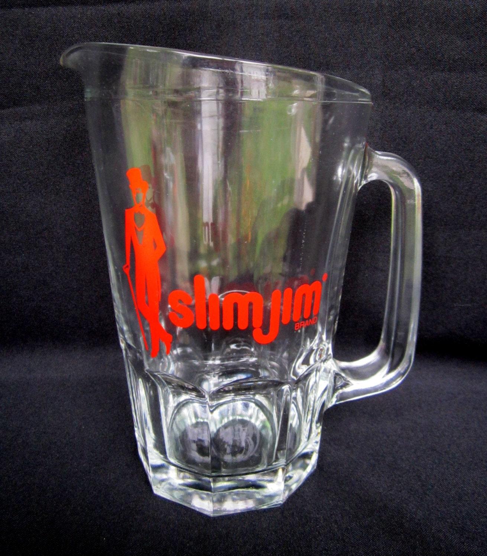 glass beer pitcher slim jim man cave barware. Black Bedroom Furniture Sets. Home Design Ideas