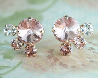 Blush earrings,blush bridal earrings,blush bridesmaid earrings,swarovski,rose gold earrings,blush wedding,blush wedding jewelry,blush pink
