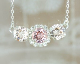 Blush necklace,blush crystal necklace,crystal necklace,swarovski,swarovski necklace,swarovski blush necklace,blush and silk necklace,bridal