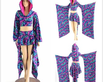 2PC Tie Dye Pteredactyl Dragon Crop Hoodie w Kimono Sleeves & Dragon Tail Skirt in Tie Dye w Neon Pink Holo Spikes / Hood Liner  152882