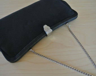 Black Clutch mInimalist 1960s Mod Retro Party Evening Handbag