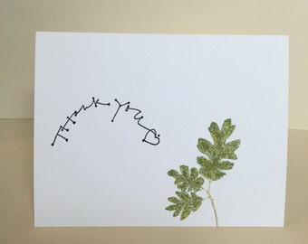 Nature card, Greeting Card, Thank you card, Nature, Blank card, Blank Thank You Card, Leaves, Masculine card