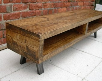 Tv stand Large Contemporary rustic industrial tv unit cabinet also coffee table 140 cm