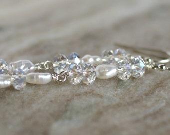 Pearl earrings, Swarovski elements dangle earrings, pearl drop earrings, silver shepherd hook ear wires, bridal earrings, jewelry gift