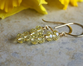 Yellow crystal earrings, Swarovski jonquil crystal earrings, Swarovski earrings, Swarovski jewelry gift, gold fill ear wire, bridal earrings