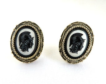 Roman Solider Cuff Links, Vintage Cameo Cufflinks, Men's Suit Accessory, Perfect Gift for Him, Gift Box, FREE SHIPPING