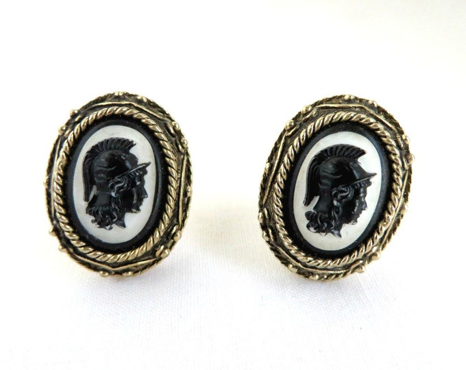 Roman Solider Cuff Links, Vintage Cameo Cufflinks, Men's Suit Accessory, Perfect Gift for Him, Gift Box