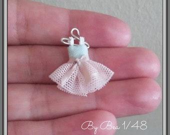 1/48 dollshouse miniatures 1/4 romantic dress hand made by Bea