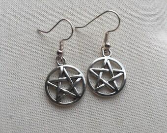 Pentagram Cut Out Earrings - Silver Charm Jewellery Wiccan Goth Design Steampunk