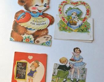 Vintage Valentine Lot 4 Old Valentines