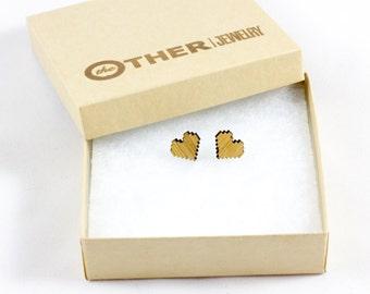 Pixel Heart Earrings | red heart earrings, geek jewelry, video game heart, heart stud earrings, neardy heart earrings, pixel heart jewelry