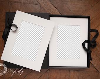 Folio Box with 2 Mats on Vintage Wood - Product Mockup - Adobe Photoshop CS5 & Up