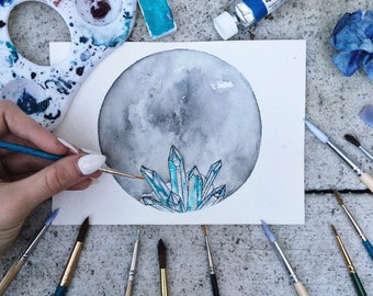 "Watercolor ""Healed"" - Crystal + Moon"