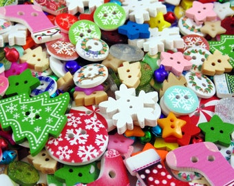 50g Christmas Mixed Buttons & Embellishments (Approx 150 Buttons)