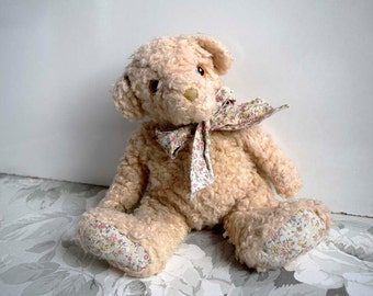 Vintage Cream Curly Mohair Teddy Bear with Floral Design Cotton Ribbon