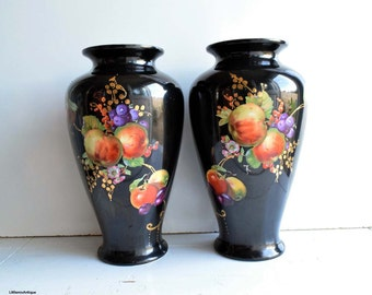 A pair of 1930 Vintage Rubian Art Pottery Dover, England 3604 pattern 'Fruits' Design 34 cm/13.4 inches tall Vases Retro Home Decor