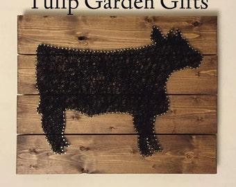 Cow String Art Wall Hanging - Pallet Style, Animal String Art, Cow Thread Art, Fiber Art, Steer String Art, Hereford String Art, Holstein