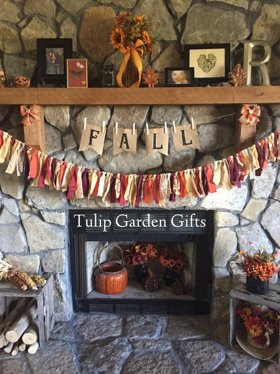 Fall or Halloween Rag Garland with Optional Chevron Burlap Button Bows, Fall Mantel Decor, Halloween Mantel, Fall Garland, Fall Rag Bunting